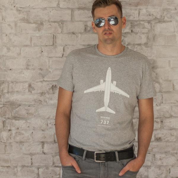 tričko pánské s potiskem Boeing 737-800 šedý melír