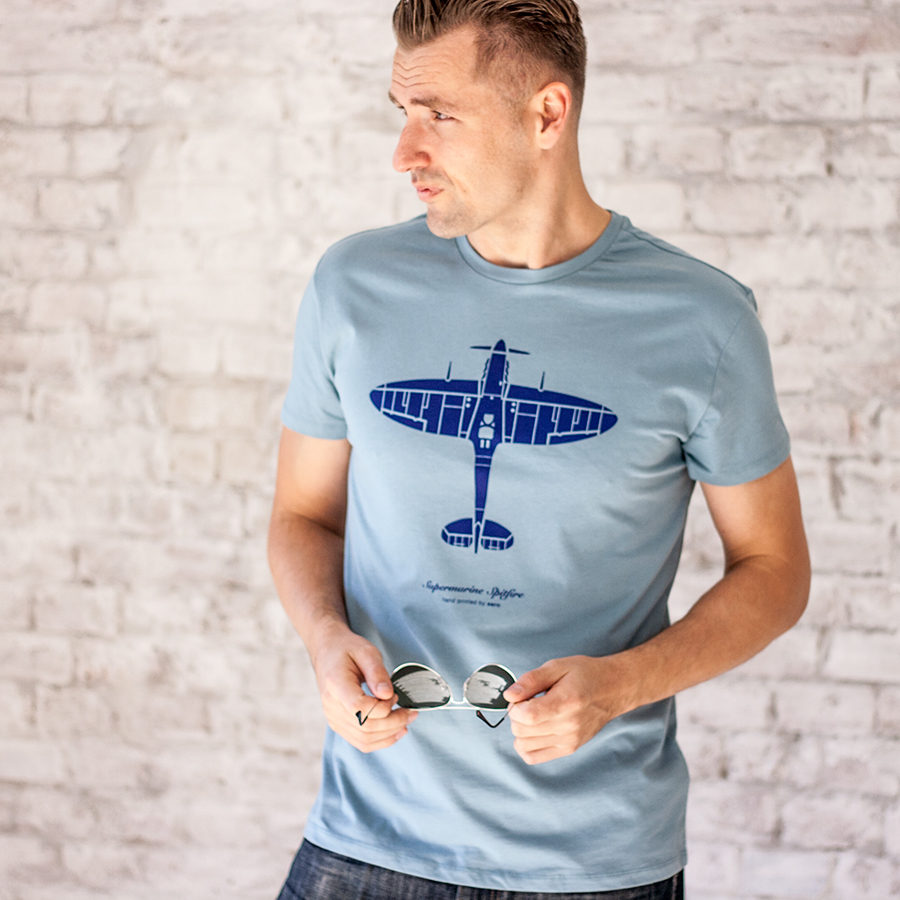 triko s letadlem Spitfire modrá ocel
