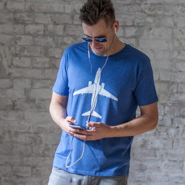 tričko pánské s potiskem Boeing 737-800 modrý melír