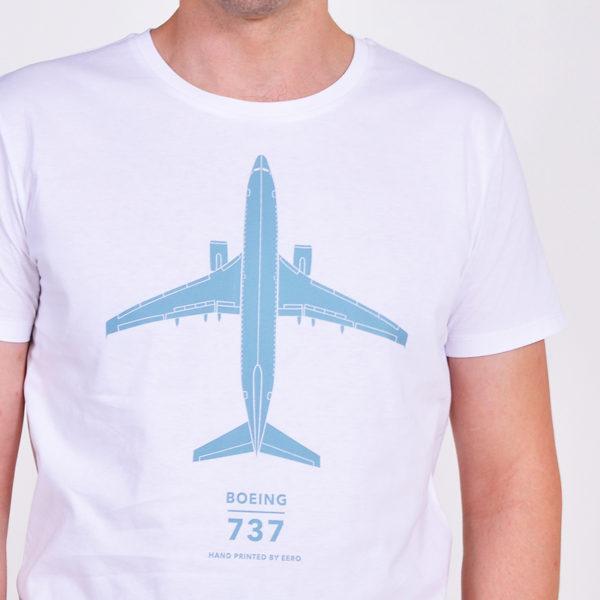 Tričko s letadlem Boeing 737-800 pánské bílé