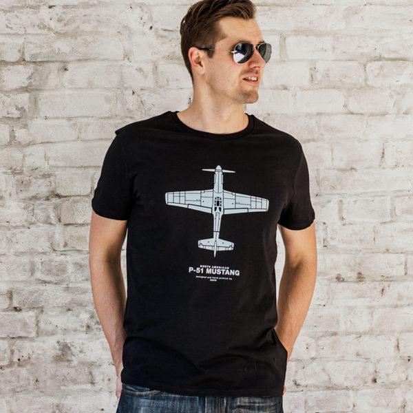 tričko s letadlem P-51 Mustang černé
