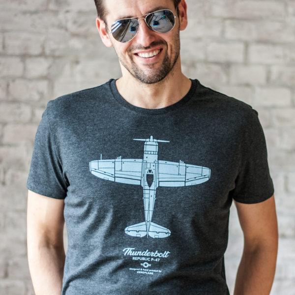 tričko s letadlem P-47 Thunderbolt slim fit