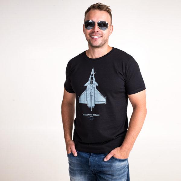 tričko s letadlem Dassault Rafale černé