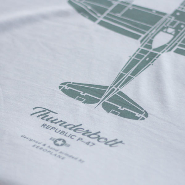 tričko s letadlem Republic P-47 Thunderbolt bílé