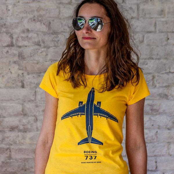 dámské tričko s letadlem Boeing 737-800 žluté