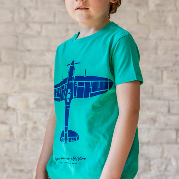 dětské tričko s letadlem Spitfire zelené s modrým potiskem
