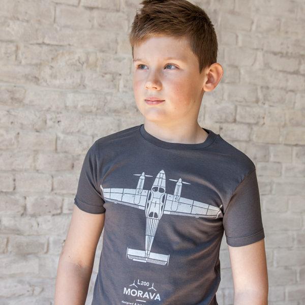 dětské tričko s letadlem L200 Morava asfaltové s bílým potiskem