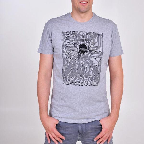 IT tričko s tištěnými spoji šedý melír