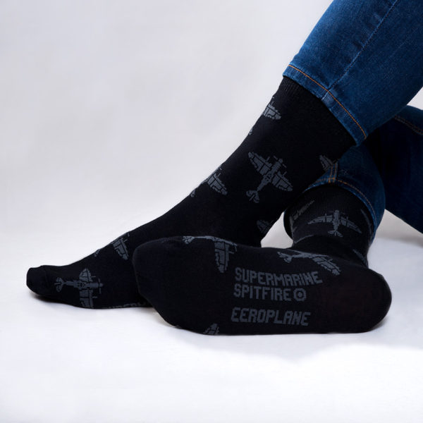 Eeroplane ponožky s letadlem Supermarine Spitfire černá & šedá