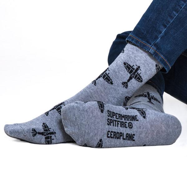 ponožky pro pilota Spitfire šedý melír & černá