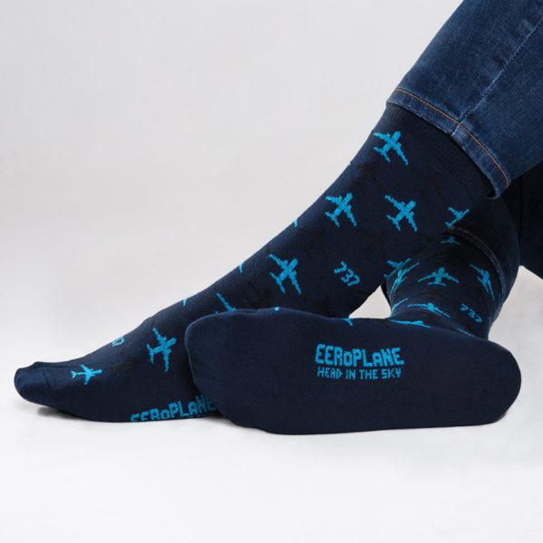ponožky s letadlem Boeing 737 modré
