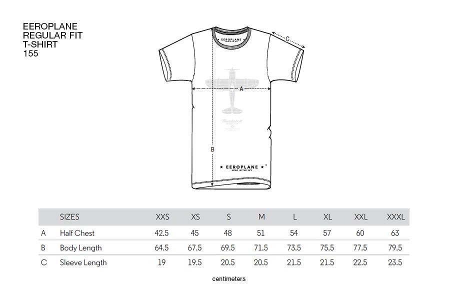 eeroplane-reg155-tshirt-dimensions